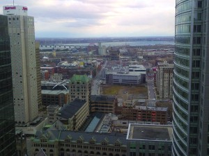 View of the Saint Lawrence River running through downtown Montreal from my hotel room.