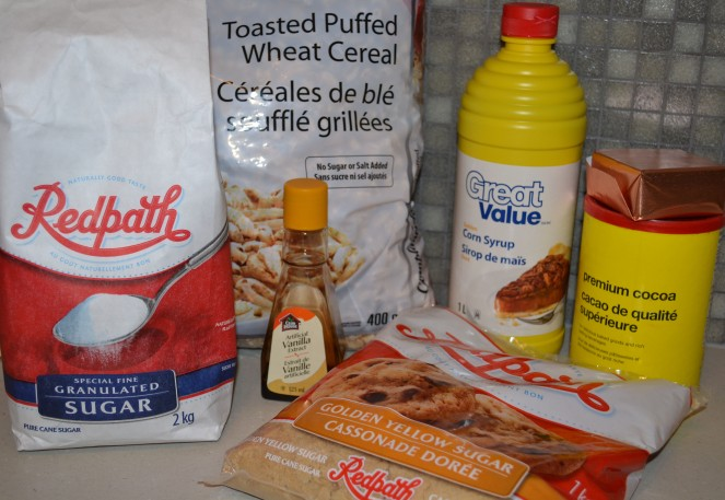 Puffed wheat ingredients.