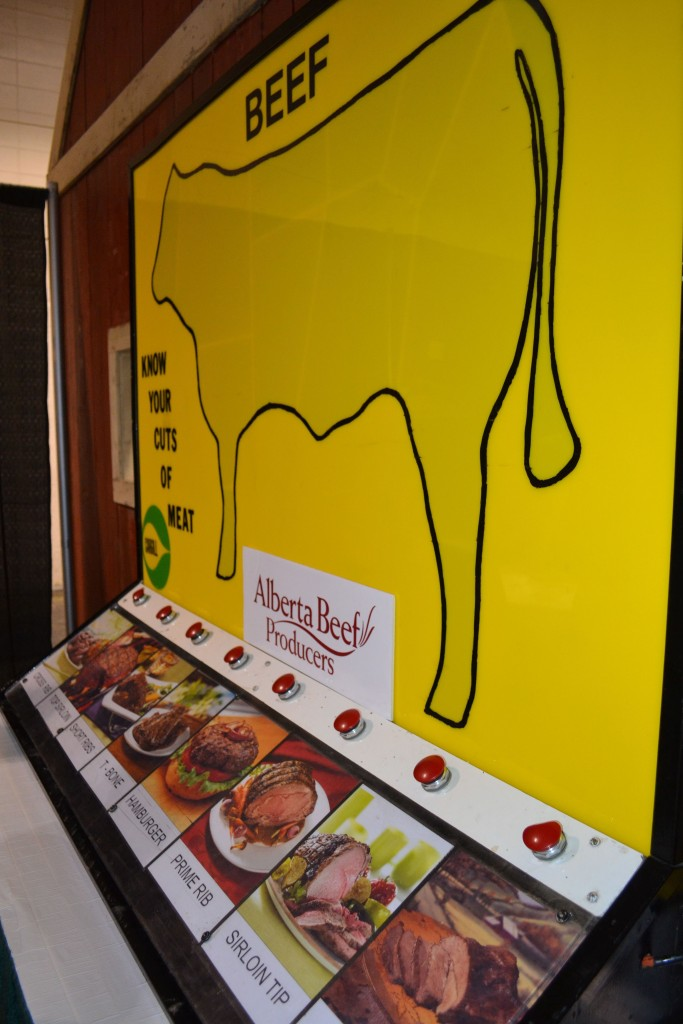 An interactive Alberta Beef Producers display that shows the various cuts of meat from a cow.