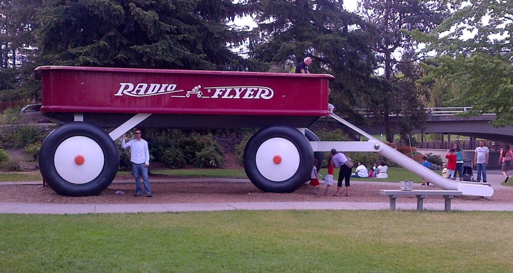 A huge Radio Flyer red wagon in Riverfront Park.