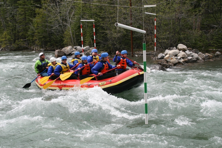 Navigating our way through a kayak obstacle course.