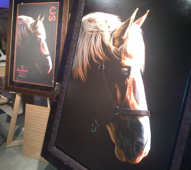 The beautiful new 2014 Calgary Stampede poster on display.