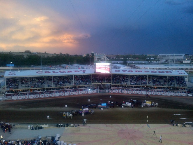 Chuckwagon races against a beautiful sky!