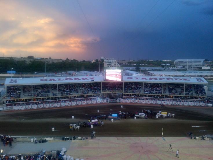 Chuckwagon races against a beautiful sky!