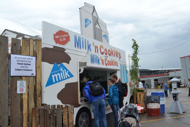 Milk and cookies anyone? For just $1 you get a carton of milk and a wagon wheel with all proceeds going to flood relief and the food bank.