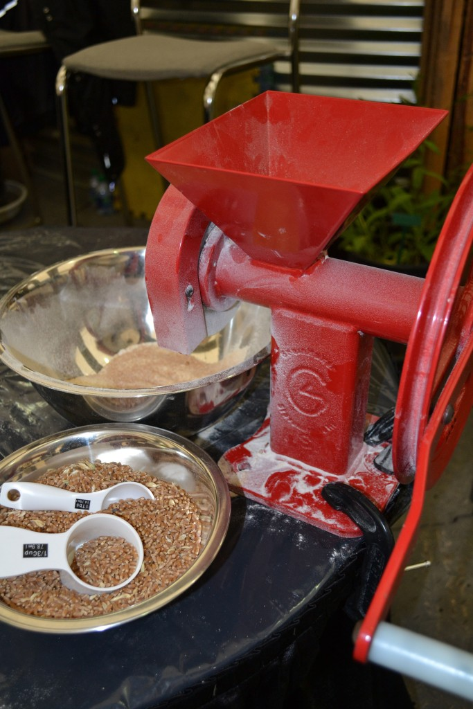 Turning wheat into flour...