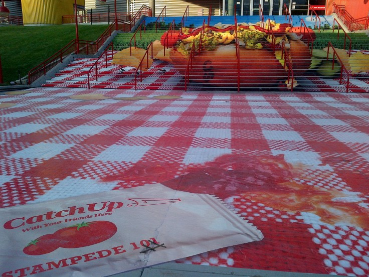 Hotdog? Don't forget the ketchup! The painted steps of the Saddledome.