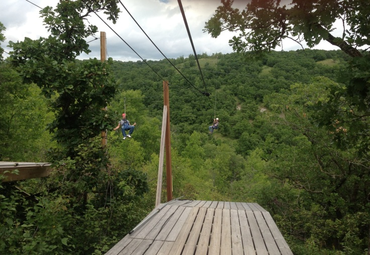 Derek and Keith racing on the double zipline.