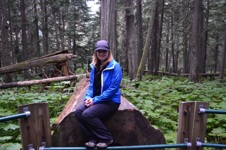 Sitting on a huge log.