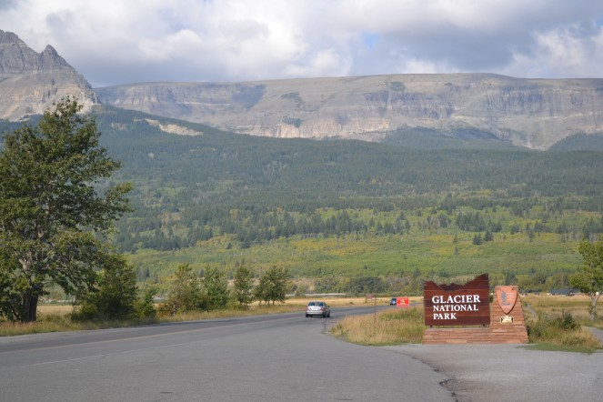 Entering Glacier National Park on the Going-to-the-Sun Road.
