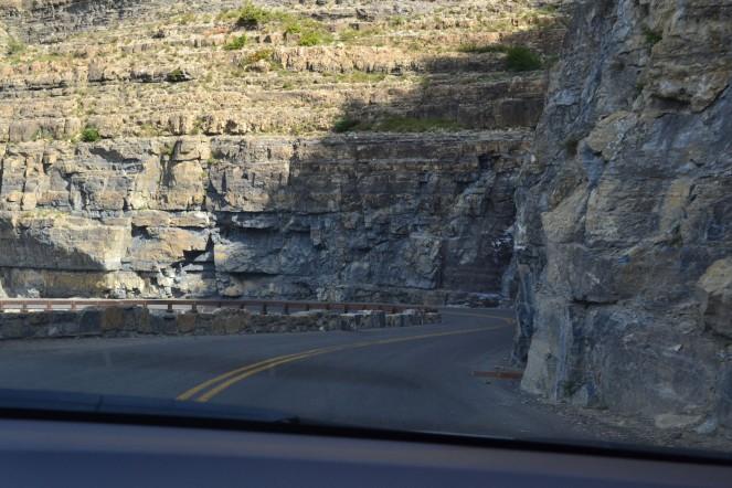 The narrow winding road.
