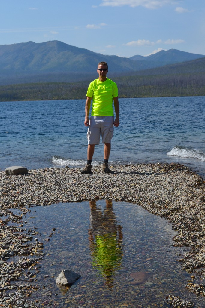 Lake McDonald in the park - with a cool reflection in the puddle.
