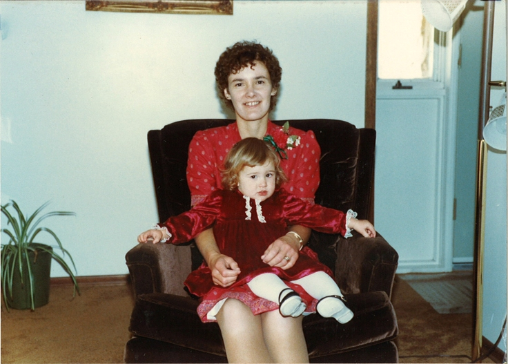 Mom and me in pretty red dresses.