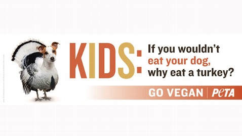PETA's new Thanksgiving billboard taking aim at turkeys.