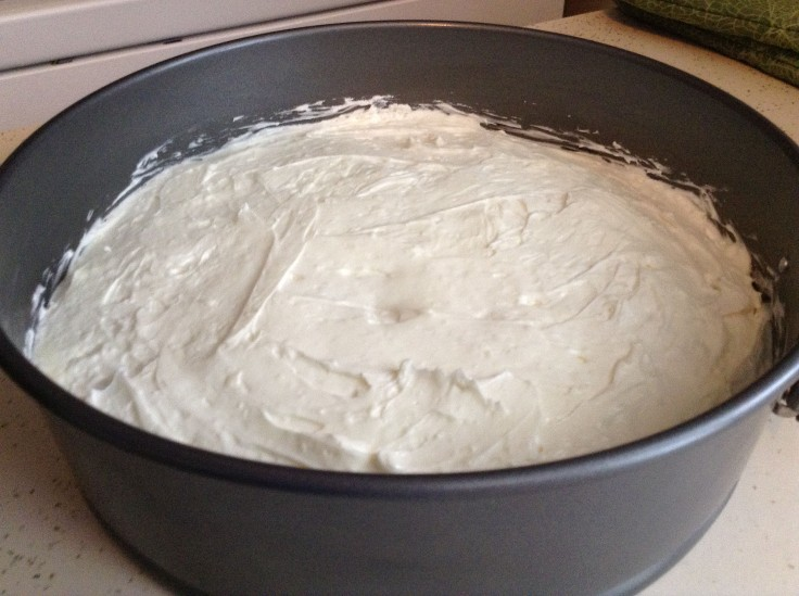 The second layer of cream cheese mixture.