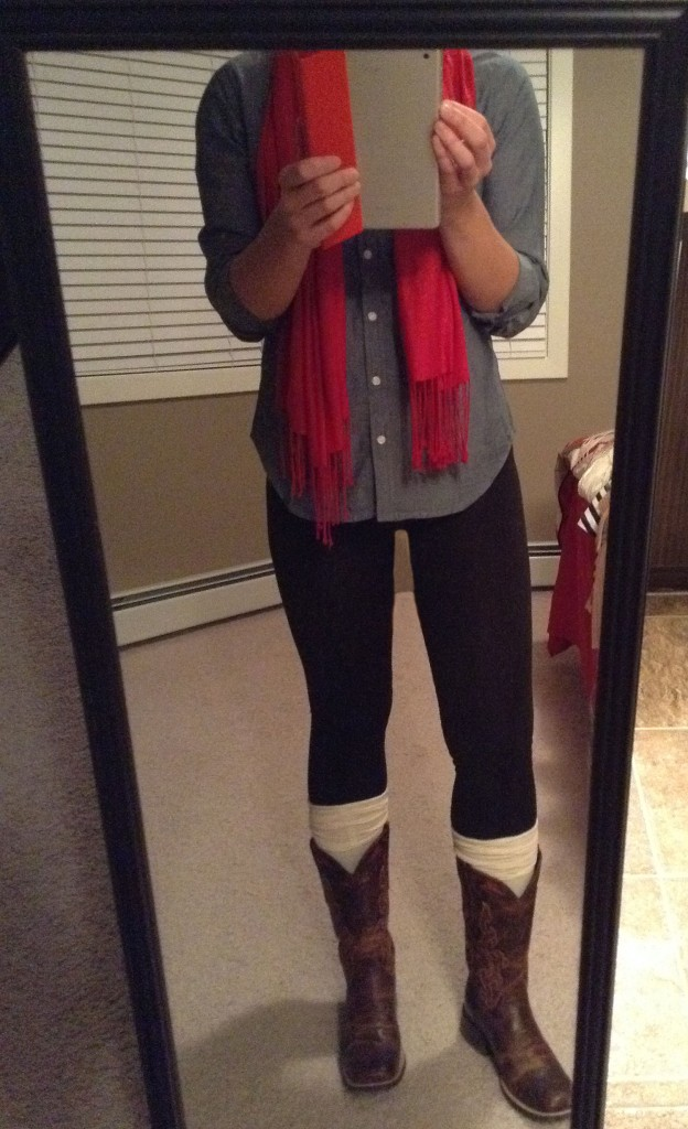 Boots red scarf leggings