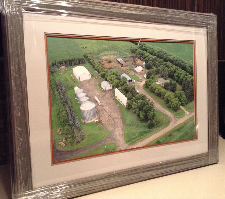Year: 2013. The new framed farm photo my brothers and I gave our parents for their anniversary.