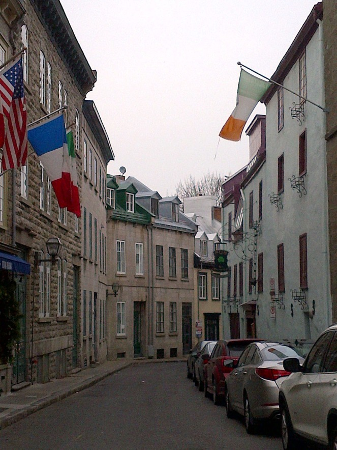 A narrow street in Old Quebec. There were many narrow cobblestone streets.