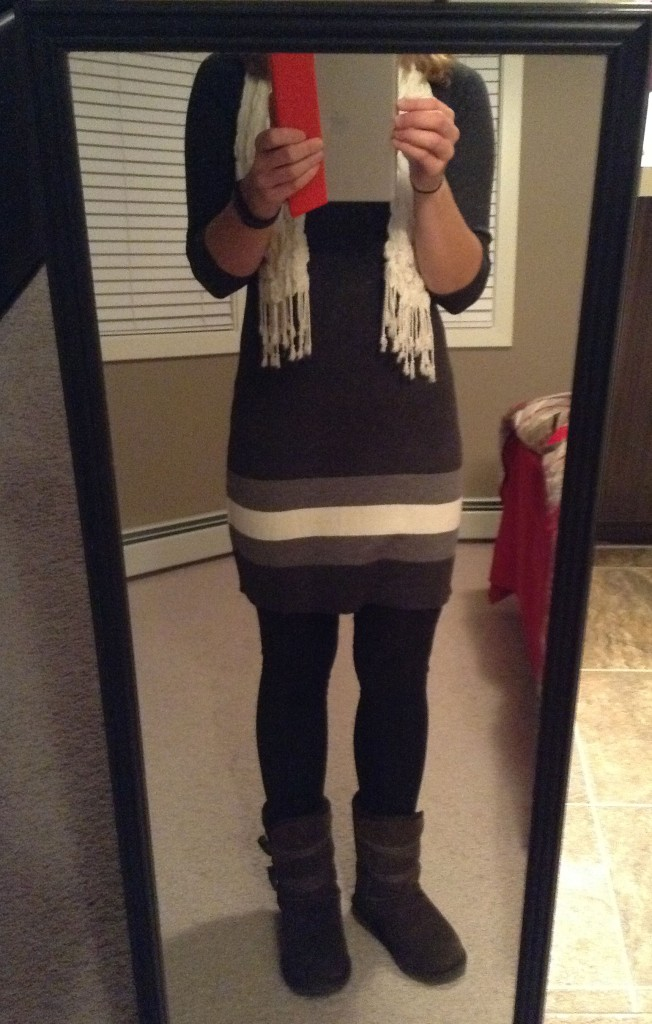 Leggings, sweater dress, scarf and EMU boots.