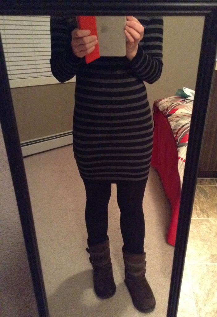 Sweater dress, leggings and EMU boots.