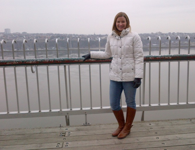 And here I am exploring Old Quebec with the St. Lawrence River in the background. It was a chilly fall day.