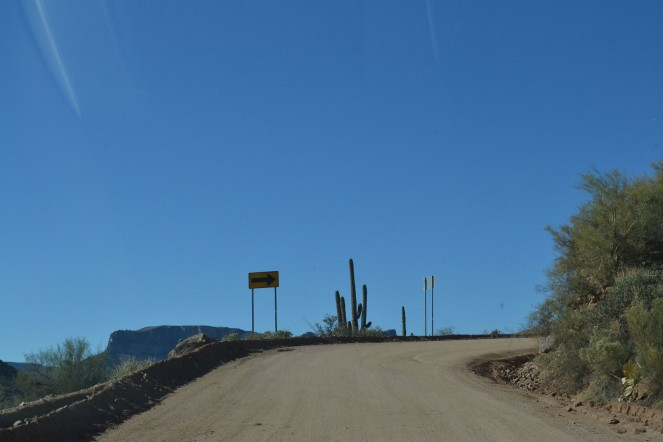 Twists and turns on the steep and narrow Apache Trail.