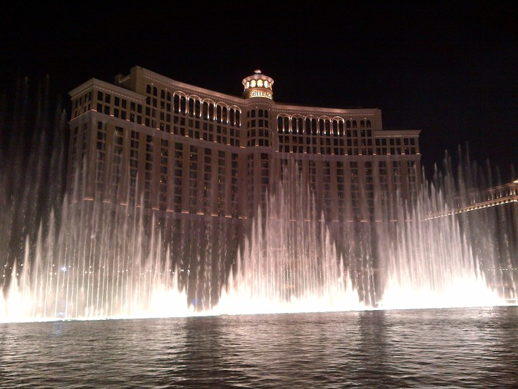 The Bellagio fountains from the ground. The fountains are choreographed to music.