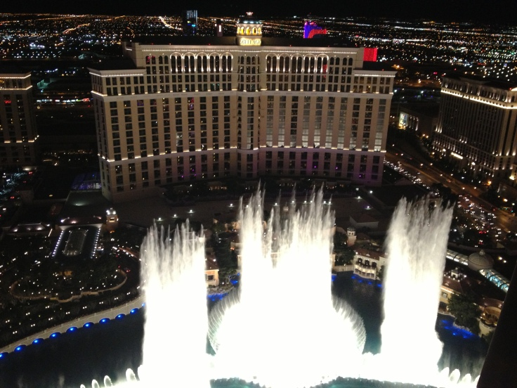 On Christmas Eve we went to the top of the Eiffel Tour and took some nice photos of the Bellagio fountains.