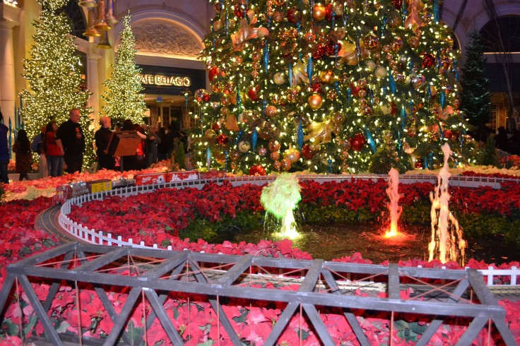 The Bellagio had some of the best indoor Christmas decor including a huge Christmas tree, reindeer hanging from the ceiling, a running model train set and tons of beautiful poinsettias.