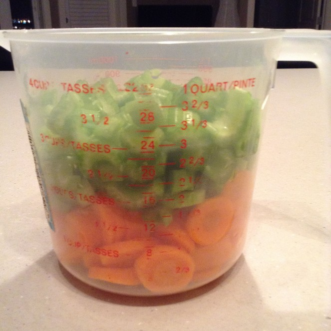 Sliced celery and carrots.