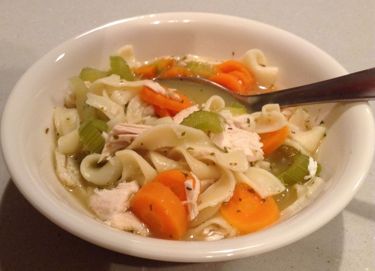 A hearty bowl of chicken noodle soup.