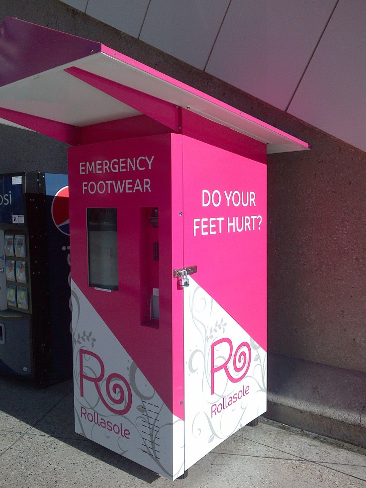A trip to Las Vegas probably means you'll be doing lots of walking - up and down The Strip. We came across this Emergency Footwear vending machine on the sidewalk where you can actually buy new slipper-like footwear. Do your feet hurt? Why, yes they do!