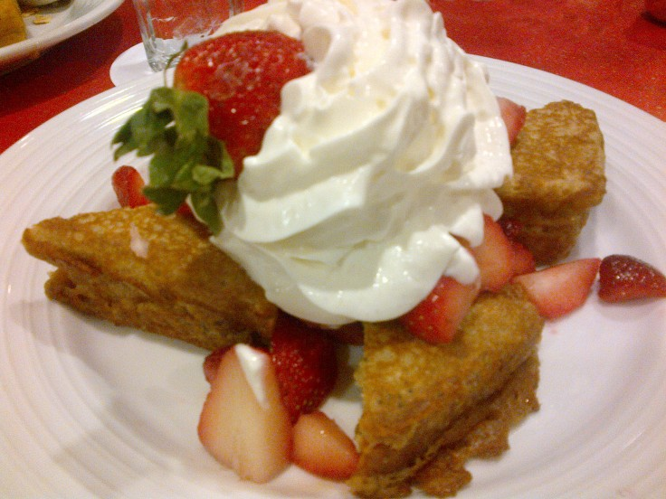 Strawberry French toast for breakfast at the Luxor in Las Vegas. This was loaded with delicious strawberries and the French toast was lemon poppyseed.