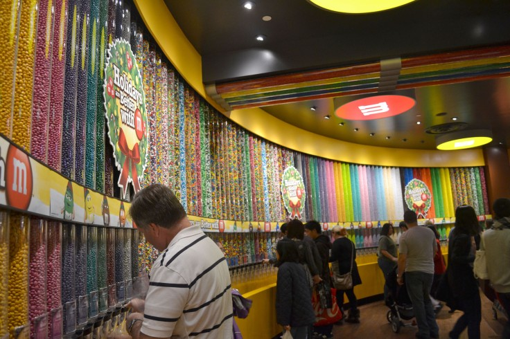 We went into the huge M&M World store which is four floors. On one floor you can buy different kinds of M&M's in bulk (pictured). I couldn't believe how many different kinds there were and kinds that are not available in Canada. My favourite is the raspberry-flavoured M&Ms.
