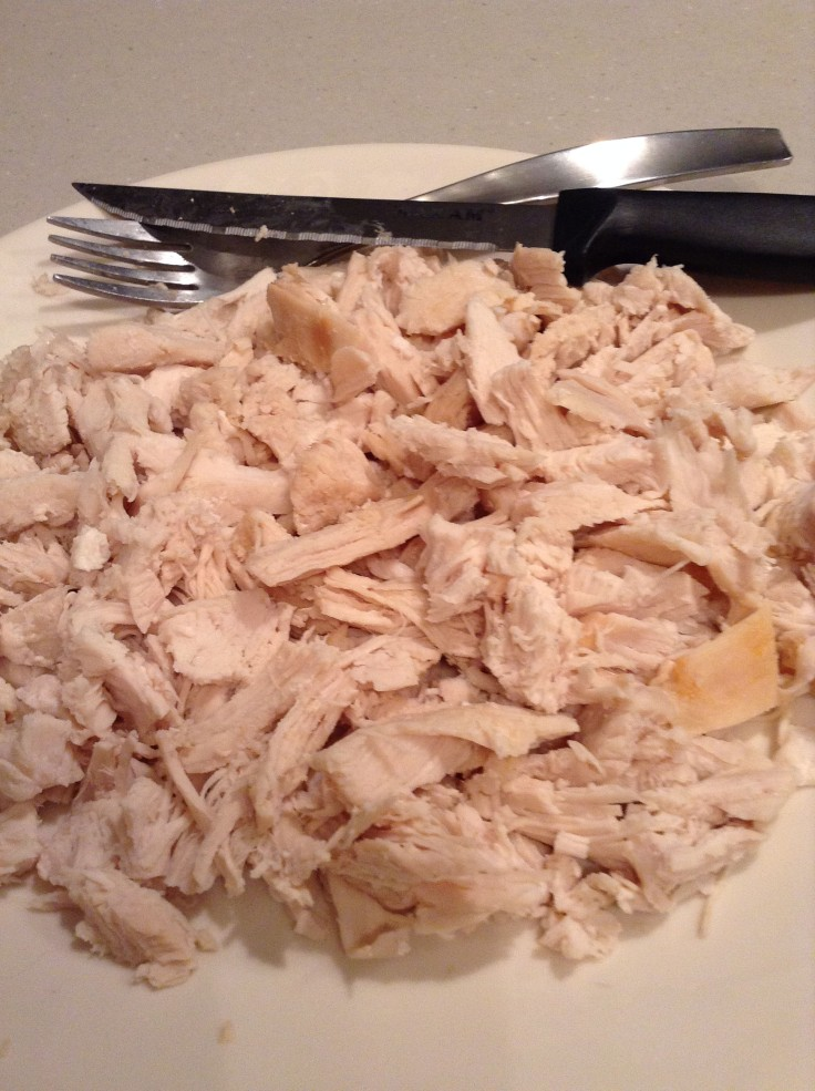 Cooked and cut up chicken.