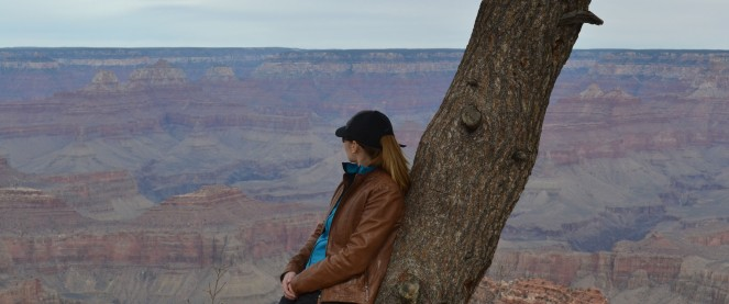 Looking out at the Grand Canyon.