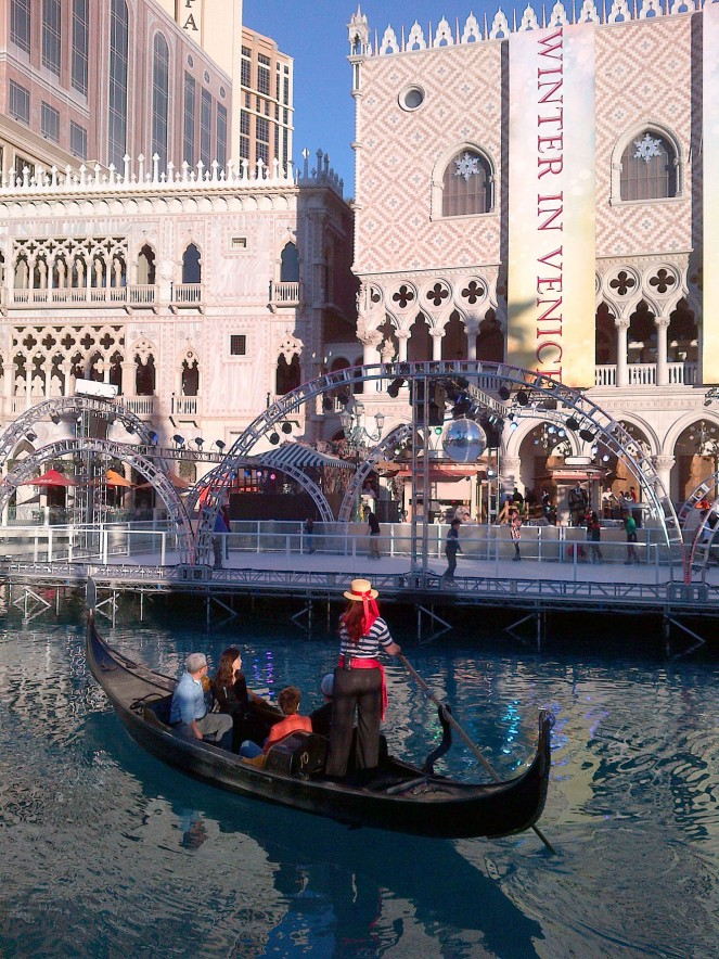 The Venetian also had some nice outdoor holiday decor including an outdoor skating rink. And of course they offer the famous Venice gondola rides.