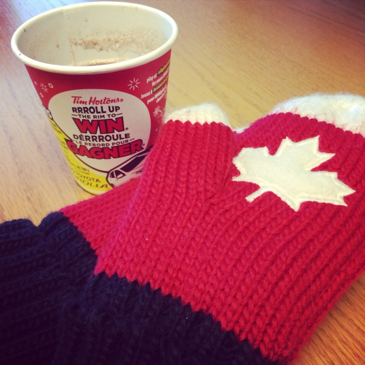 Tim Hortons - a Canadian icon. And my Canada mittens.