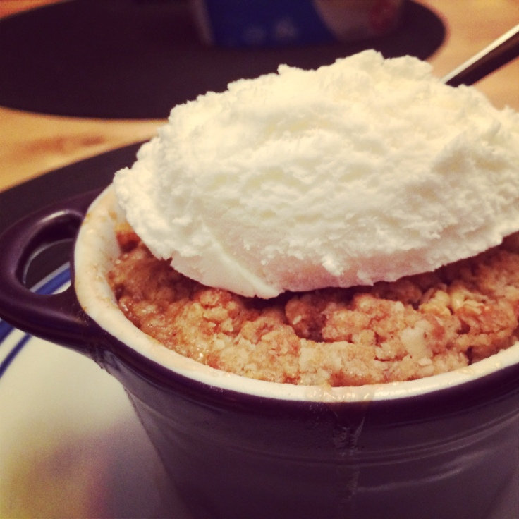 Apple crisp and ice cream.