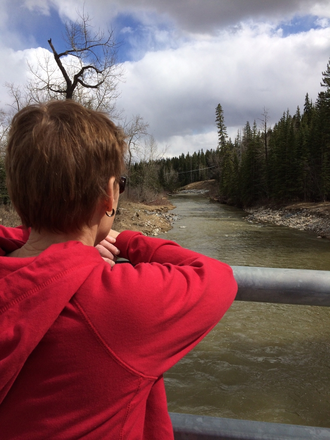 Mom looking out over the creek.