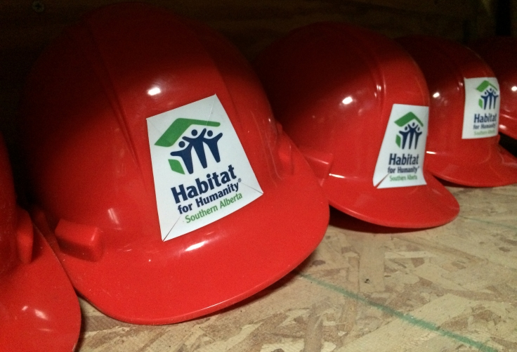 Our Habitat hard hats. Safety first!
