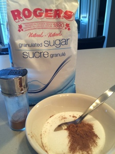Cinnamon sugar mixture.