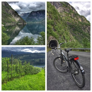 Biked app. 20 kms on narrow roads with many hills. Beautiful views in Norway.