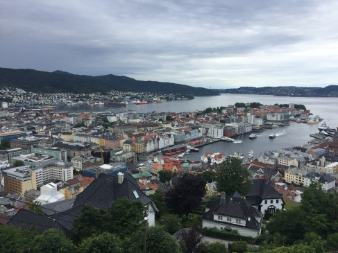 View of Bergen harbour and city centre.